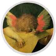 Angel Musician Round Beach Towel