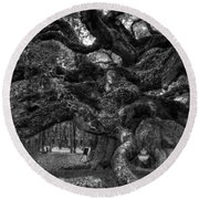 Angel Oak Tree 2 Round Beach Towel