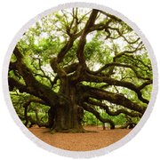 Angel Oak Tree 2009 Round Beach Towel by Louis Dallara