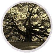 Angel Oak Tree Sepia Round Beach Towel