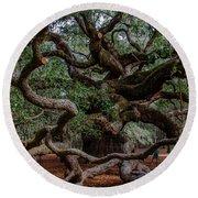Angel Oak Tree Treasure Round Beach Towel