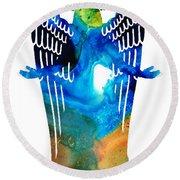 Angel Of Light - Spiritual Art Painting Round Beach Towel