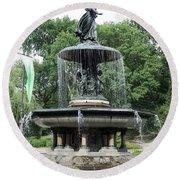 Angel Of The Waters Fountain Round Beach Towel