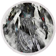Angel Of Winter Round Beach Towel