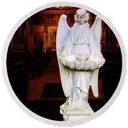 Angel Statue Offers Holy Water Round Beach Towel