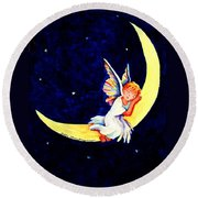 Angel On The Moon Round Beach Towel