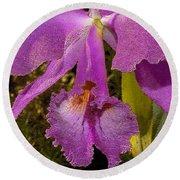 Angel Orchid Gold Leaf Round Beach Towel