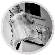 Angel Out The Window Round Beach Towel