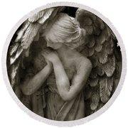 Angel Photography Spiritual Angel  - Guardian Angel In Prayer - Angel Praying  Round Beach Towel