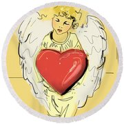 Angel Red Heart Round Beach Towel