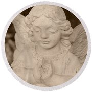Angel Sepia Round Beach Towel