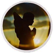 Angel Silhouette Round Beach Towel