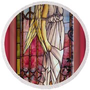 Angel Stained Glass Window Round Beach Towel by Thomas Woolworth