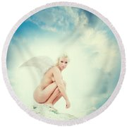 Angel Round Beach Towel by Stelios Kleanthous