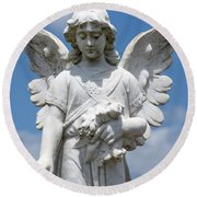 Angel Tombstone Series Round Beach Towel