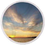 Angel Wing Sunset Round Beach Towel