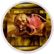 Angel With Floral On Clouds Round Beach Towel