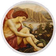 Angel With Serpent Round Beach Towel by Evelyn De Morgan