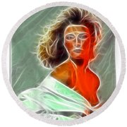 Angela Leather Red Fractal Round Beach Towel