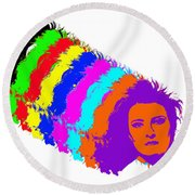 Angela Rainbow-2 Round Beach Towel