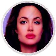 Angelina Jolie Beautiful Lips Round Beach Towel