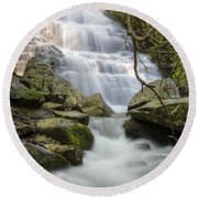Angels At Benton Waterfall Round Beach Towel by Debra and Dave Vanderlaan
