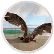 Angels- For The Lord Himself Will Descend From Heaven With A Shout Round Beach Towel