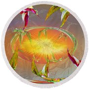 Angels Gather To The Love Of The Lord Round Beach Towel