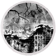 Angels In Gothica Bw Round Beach Towel