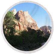 Angels Landing And Virgin River - Zion Np Round Beach Towel
