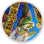 Angels On High Round Beach Towel