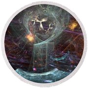 Angels Peril On The Sea Round Beach Towel