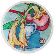Angel's Trumpet Flowers And A Ukulele Round Beach Towel