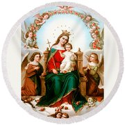 Angels With Roses Round Beach Towel