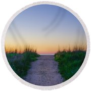 Angelsea Beach Path Before Sunrise Round Beach Towel