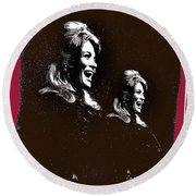 Angie Dickinson Laughing Collage Young Billy Young Set Old Tucson Arizona 1968-2013 Round Beach Towel