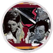 Angie Dickinson Robert Mitchum Pose Collage Young Billy Young Old Tucson Arizona 1968-2013 Round Beach Towel
