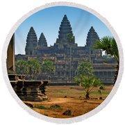 Angkor Afternoon Round Beach Towel