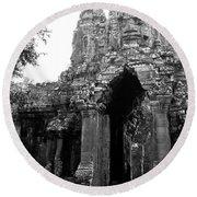 Angkor Thom East Gate 01 Round Beach Towel