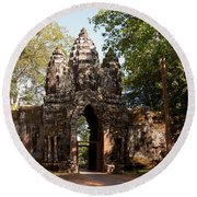 Angkor Thom North Gate 02 Round Beach Towel