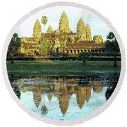 Angkor Wat Reflections 01 Round Beach Towel