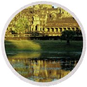 Angkor Wat Reflections 02 Round Beach Towel