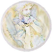 Angle With Dove Photoart Round Beach Towel