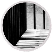 Angles And Shadows - Black And White Round Beach Towel