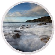 Anglesey Tides Round Beach Towel