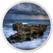 Angry Round Beach Towel by Debra and Dave Vanderlaan