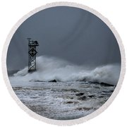 Angry Ocean In Ocean City Round Beach Towel
