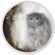 Angry Owl's Talons Round Beach Towel