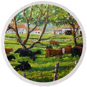 Angus Cows Under The Cool Shade By Prankearts Round Beach Towel