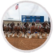 Anheuser Busch Clydesdales Pulling A Beer Wagon Usa Rodeo Round Beach Towel